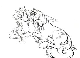 MLP lineart trade 1 by Bee-chan