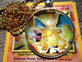 Extra-Special Request - Upcycled Charizard Pendant by BlackManaBurning