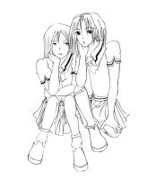 2 gurls again Lineart by smexy-boi