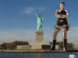 LARA CROFT'S HEIGHT CONTEST WITH LADY LIBERTY by darthbriboy