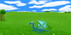 Dragon in feild by Superpersonx