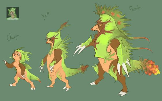 Pokemon X and Y- Chespin and evolutions by TornAroundtheEdges