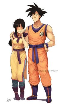 Chichi and Goku by faustsketcher