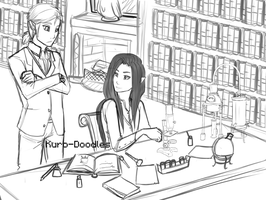 Lab work and lazy books by Kuro-Doodles