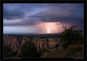 Lightning at the Grand Canyon by Rhavethstine