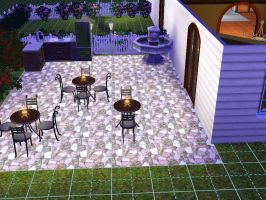 Sims 3 kh house out door dining by TheeKozakura