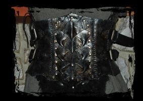 orc leather armor belly part front view by Lagueuse