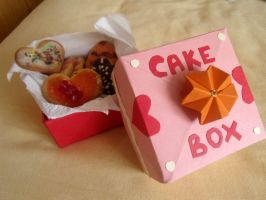 Cake box and  cookies by curry-brocoli