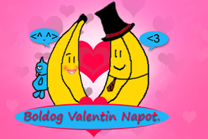 Valentine's day Bananas Postcard by badtrane