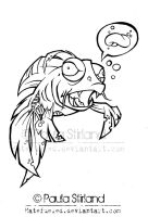 Zombiefish lineart by hatefueled