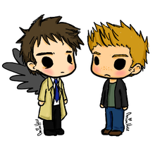 Chibi Destiel by lemonpie-art