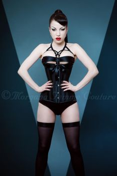 Black on Black Corset by ladymorgana