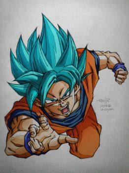 super saiyan god super saiyan gokou colored by reijr