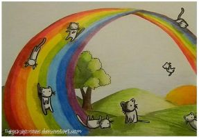 Cats on a Rainbow by tigers-go-roar