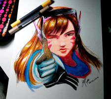 Overwatch D.va traditional painting by WLimit