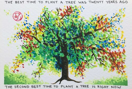 Best Time to Plant a Tree - Card by ColaChu