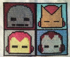 Iron Man masks in cross stitch by WhispMI21