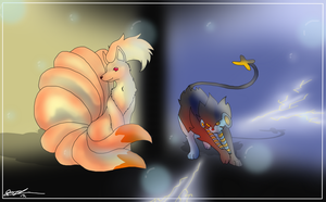 Ninetales and Luxray by XxPuppyProductionsxX