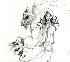 Riding Hood and the Wolf by sodeni