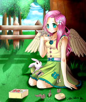 Little rest with little friends. Fluttershy by Feather-Dream