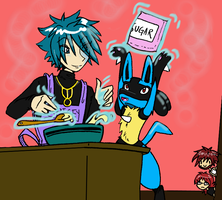 cookin with riley and lucario by denkimouse