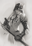 B/W Sketch Commission: Miqo'te by raikoart