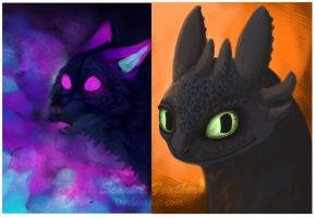 Toothless and Galaxy Dog .WIPs. by Senbread