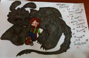 Cute Hiccup and Toothless by Kittychan2005