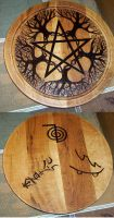 Pentacle Pyrography Trees by Lolair