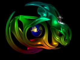 Pete surfing on a fractal with Earth by mcsoftware