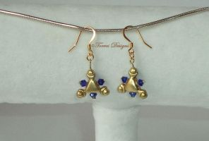 14K Gold Hooks Zora Sapphire Earrings Handmade #8 by TorresDesigns