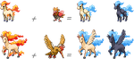 Ponyta and Rapidash Hybrid Sprites by mondecolore