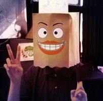 Paper Bag Man With Big Lips by NobiNobi