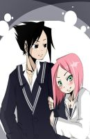 .:SasuSaku - High School:. by elmyky