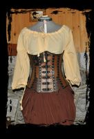 steampunk underbust leather corset by Lagueuse