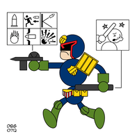 Judge Dredd in the style of: Chris Ware by BahalaNa