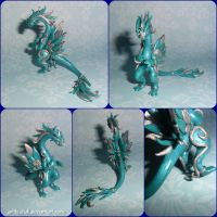 Blue and silver dragon by artilestial