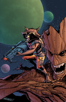 Rocket and Groot by J-Skipper