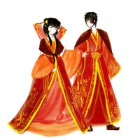 with all kinds of red : Mai and Zuko by dlwlfks2