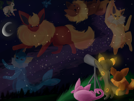 Stargazing Eeveelutions by Kalinel