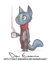 Cat with coffee mug by davi-escorsin