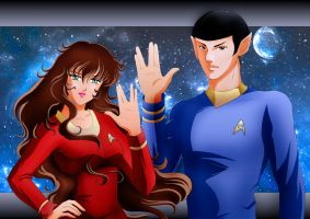 TRIBUTE  LEONARD NIMOY SPOCK and MY OC TREKKIE by EcorynV