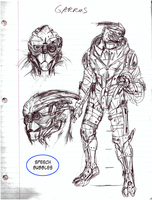 Garrus design sketch by AmethystSadachbia
