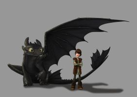 Toothless and Hiccup by Fenchan