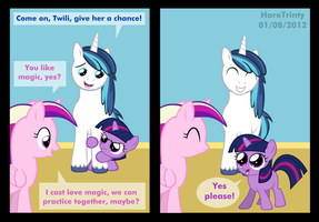 Twilight meets her foalsitter by HareTrinity