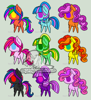 9 Pony Adoptables #1 [CLOSED] by wallabean