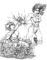 Powergirl vs She Hulk 01 by andrewr255