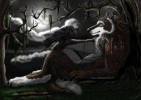 Under the dead tree by AnsticeWolf