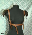 Brown feathers harness by masque242