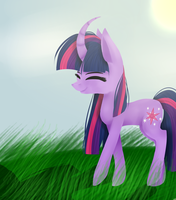 Twilight before trip to Ponyville by NaturalLightning